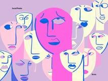 Miedo en situaciones sociales y ansiedad stock de ilustración