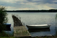 Miedwie湖的风景, Stargard,波兰 免版税图库摄影