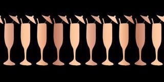 Miedziana foliowa szampańskiego fleta wektoru wzoru bezszwowa granica Różani złociści koktajli/lów szkła na czarnym tle Dla resta ilustracji