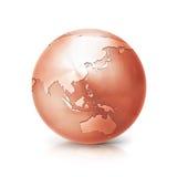 Miedziana kula ziemska 3D Asia i Australia ilustracyjna mapa Obrazy Royalty Free