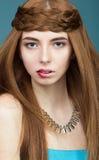 Miedzianowłosa dziewczyna z niezwykłymi wargami Obraz Stock
