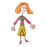 Miedzianowłosa dziewczyna w pasiastej sukni Zdjęcia Royalty Free