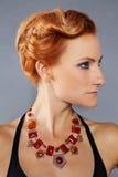 Miedzianowłosa dziewczyna z cheekbones Obrazy Royalty Free