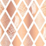 Miedziany foliowy kolażu rhombus kształtuje bezszwowego wektoru wzór Rówieśnik róży złoty abstrakcjonistyczny tło geometryczny royalty ilustracja