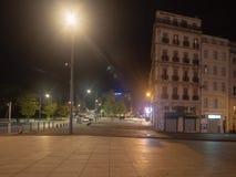 Miejsca Jules Guesde kwadrat nocą, Marseille zdjęcie stock
