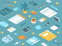 Miejsca pracy Desktop t?o Odgórny widok stół, wiele biurowe dostawy, dokumenty, pastylka, falcówka, kiesa, kalendarz, kalkulator royalty ilustracja