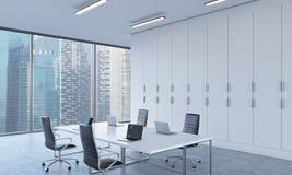 Miejsca pracy lub konferencyjny teren w jaskrawym nowożytnym otwartej przestrzeni biurze ilustracji