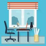 Miejsca pracy mieszkania wnętrze Obraz Stock