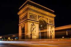 Miejsce Charles De Gaulle nocą Zdjęcie Stock