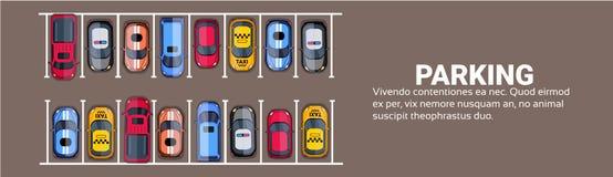Miejsce Do Parkowania Odgórny widok Z setem Kolorowi samochody, Parkowej strefy Horyzontalny sztandar Z kopii przestrzenią ilustracja wektor