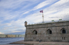 Miejsce interes miasto St Petersburg Pyotr i Pavel ` s na brzeg rzeki Neva forteca Obraz Stock