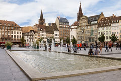 Miejsce Kleber w Strasburg. Alsace, Francja Zdjęcia Royalty Free