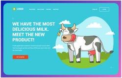 Miejsce który stoi na polu o krowach wpisywał w okręgu Strona internetowa ilustracja wektor