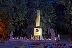 Miejsce pojedynek Lermontov przy nocą Zdjęcie Stock