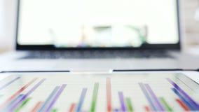 Miejsce pracy biznesmen: laptop i pastylka z pieniężną informacją na ekranie zbiory wideo