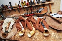Miejsce pracy musicalu mistrzowie, kobze, mandolina, narzędzia Zdjęcie Royalty Free