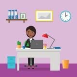 Miejsce pracy z biznesowym żeńskim charakterem w płaskim projekcie wektor Zdjęcie Stock