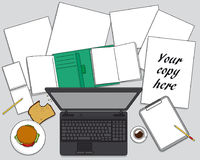 Miejsce pracy z komputerem - materiały na biurka tle Obrazy Stock