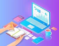 Miejsce pracy z laptopem i Pożytecznie materiałem na Desktop ilustracji