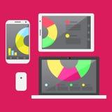Miejsce pracy z o temacie ikonami i laptopem Zdjęcia Stock