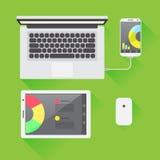 Miejsce pracy z o temacie ikonami i laptopem Zdjęcie Royalty Free