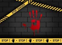 Miejsce przestępstwa - Krwisty ręka druk Przerwy niebezpieczeństwo royalty ilustracja