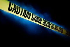 Miejsce przestępstwa odizolowywający na czerni Zdjęcia Stock
