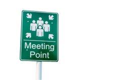 Miejsce spotkania zieleni znak na białym tle obrazy royalty free