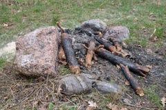 Miejsce zaświecać ognisko w lasowych śladach camping na brzeg jezioro zdjęcia royalty free