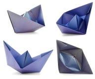 Miejscowego papieru statku photoset, origami kolekcja odizolowywająca na białym tle Fotografia Stock