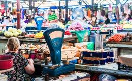 Miejscowego rynek z świeżymi produktami w Kutaisi, Gruzja obrazy royalty free