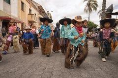 Miejscowi kichwa dzieci w Cotacachi Ekwador Fotografia Stock