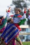Miejscowi quechua ludzie tanczy outdoors Fotografia Stock