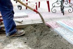 Miejski pracowników budowlanych brukować Zdjęcie Royalty Free