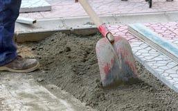 Miejski pracowników budowlanych brukować Zdjęcie Stock