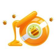 Miel anaranjada natural de la historieta en la caída y abejas del tarro stock de ilustración