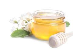 Miel avec le brin d'acacia D'isolement image stock