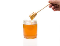 Miel avec le plongeur en bois Photographie stock libre de droits
