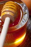 Miel brillante de la flor fresca en un tarro de cristal con el palillo de madera de la miel Fotos de archivo libres de regalías