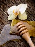Miel con cera de abejas y la flor Foto de archivo