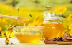 Miel con el fondo de la abeja y de la flor Foto de archivo