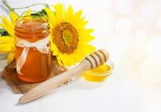 Miel con el girasol Honey Background Imagen de archivo libre de regalías
