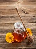 Miel con el palillo de madera Fotos de archivo libres de regalías