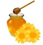 Miel con el palillo y las flores de madera. Fotografía de archivo