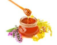 Miel con las flores Imágenes de archivo libres de regalías