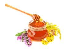 Miel con las flores Imagen de archivo