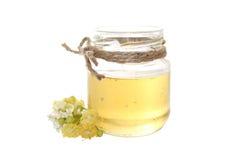 Miel con las flores de lino Imagenes de archivo