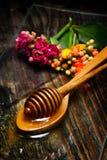 Miel d'or de plat et de fleurs Photo libre de droits