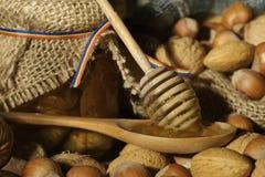 Miel d'or et fruits écossés Photographie stock