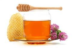 Miel dans le pot avec le plongeur, nid d'abeilles, fleur sur le fond d'isolement Photos stock
